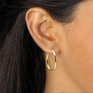 14k yellow gold nano diamond resin hoop earrings